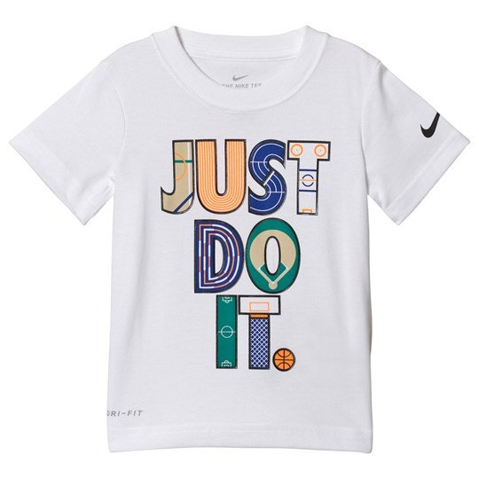 NIKE White Geo Just Do It Dri Fit Tee 001