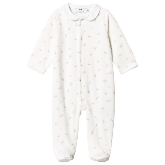 Cyrillus White Velour Footed Baby Body 6959
