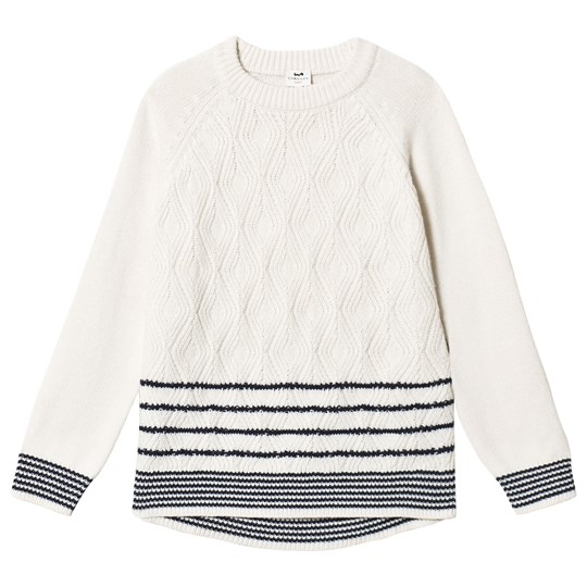 Cyrillus Cream and Black Striped Sweater 6345