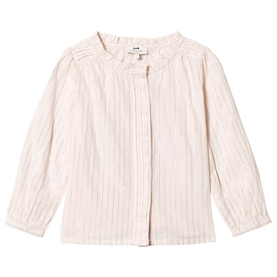 Cyrillus White and Gold Pinstripe Shirt 6346