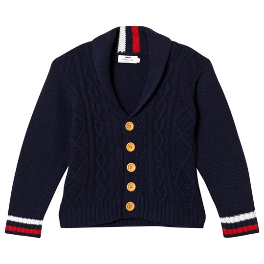 Cyrillus Navy Cable Knit Cardigan 6399
