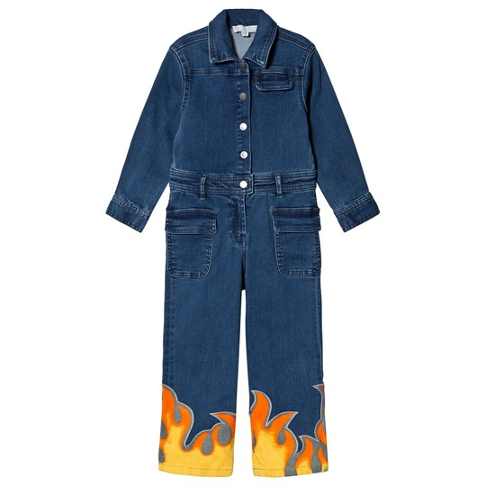 b72f8923ce475 Stella McCartney Kids - Blue Denim Flame Jumpsuit - Babyshop.com