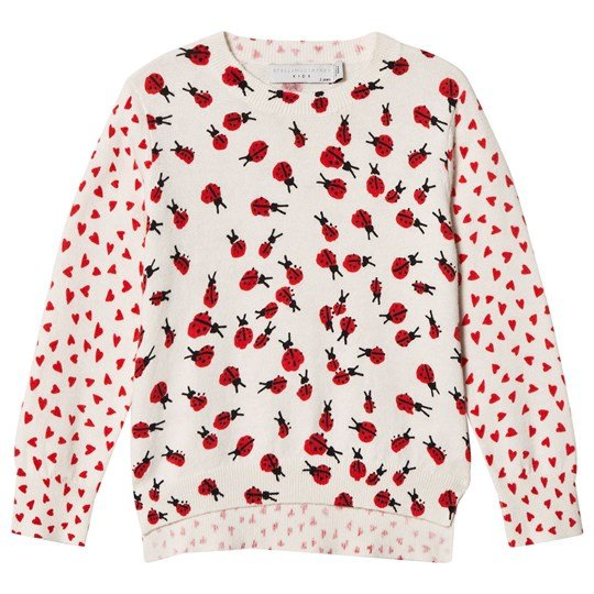 Stella McCartney Kids White and Pink Sweater with Ladybird Print 9083 - Lady Bugs Pr