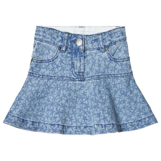 Stella McCartney Kids Blue Denim Skirt with Star Print 9084 - Biro Stars Pr