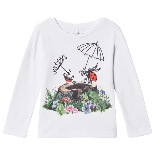 Stella McCartney Kids White Long Sleeve Tee with Trees and Ladybird Print 9082 - White