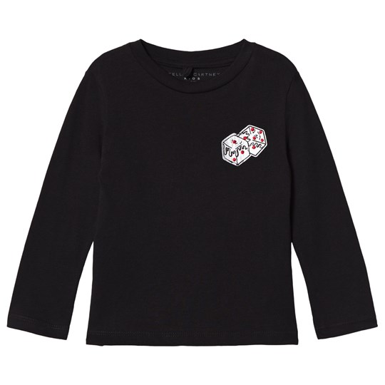Stella McCartney Kids Black Long Sleeve Tee with Dice Print 1073 - Black