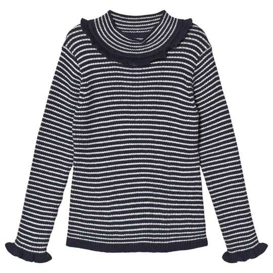 Cyrillus Navy Striped Frilly T-Shirt 6345