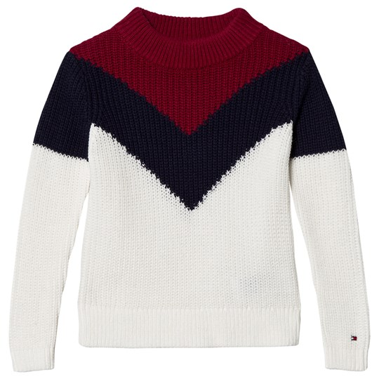 Tommy Hilfiger White Navy And Red Chevron Colorblock Knitted Sweater 118