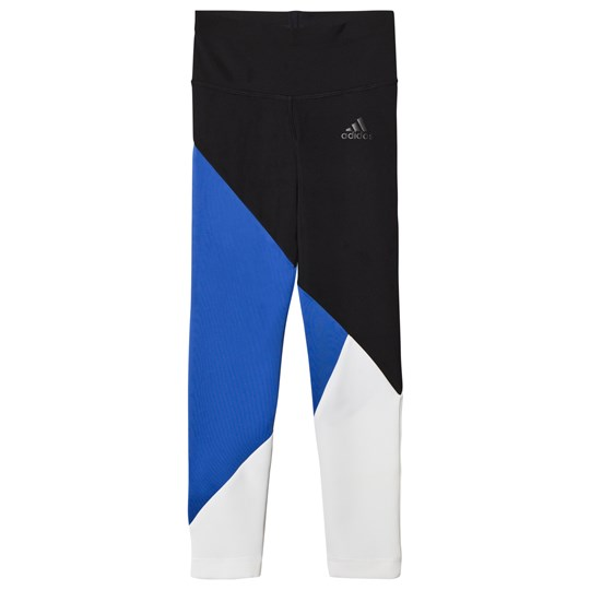 adidas Performance Blue Colourblock Training Leggings black/HI-RES BLUE S18/white