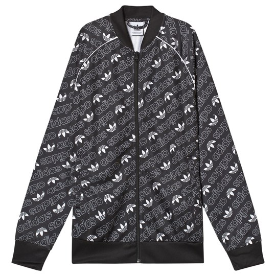 adidas Originals Black All Over Trefoil Logo Bomber Jacket Black