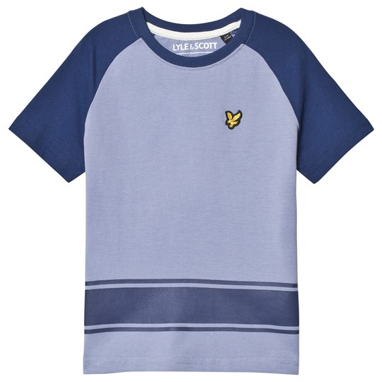 Lyle & Scott Blue Ringer Raglan Back Logo Print T-Shirt Color Description