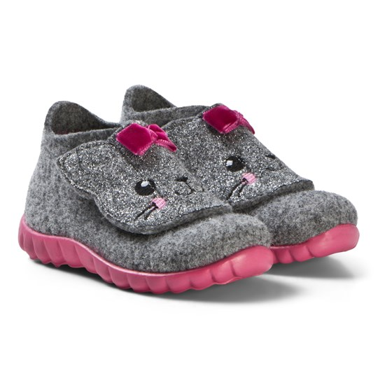 Superfit Light Grey Happy Cat Indoor Shoes Lightgrey