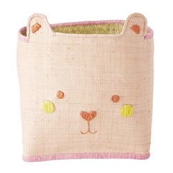 Rice Raffia Bear Toy Basket Pink
