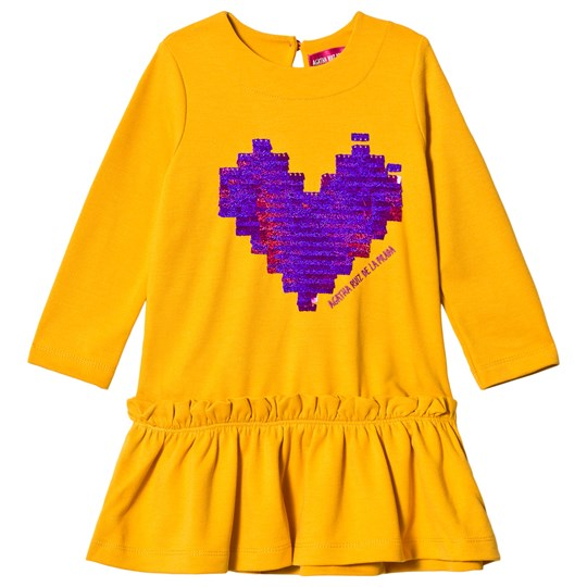 Agatha Ruiz de la Prada Mustard Yellow Purple Pixel Heart Dress Yellow