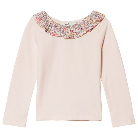 Cyrillus Pink T-Shirt with Floral Ruffle Collar 6629