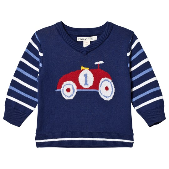93819f7662d8 Hatley - Navy Race Car V-Neck Sweater - Babyshop.com