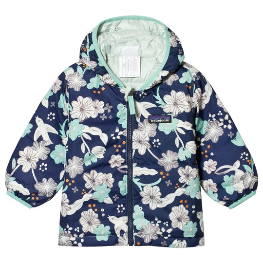 Patagonia Navy Bunnies & Birds Print Baby Reversible Down Hooded Jacket BBCL