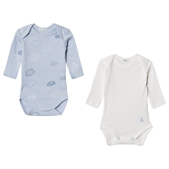 United Colors of Benetton 2-Pack White and Blue Baby Bodies WHITE&BLUE