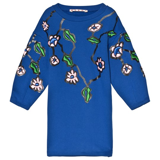 Marni Floral Pattern Sweatshirt Dress Blue Blue