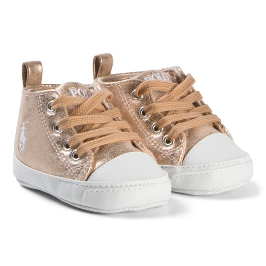 Ralph Lauren Pink Metallic and Cream Hamptyn Sneakers Pink