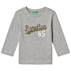 United Colors of Benetton Grey Embroidered Logo T-Shirt