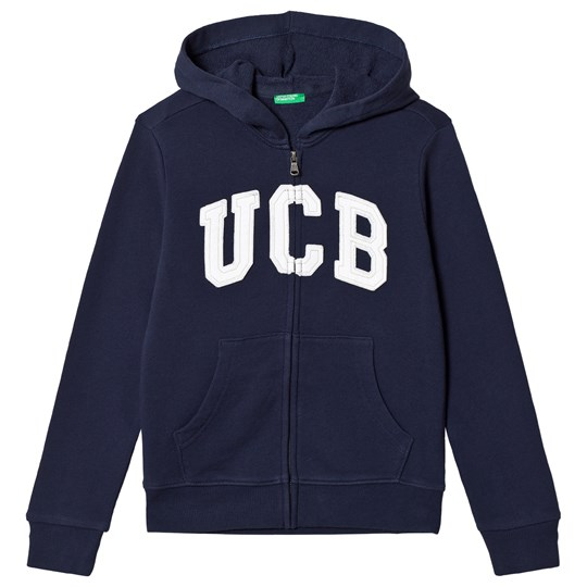 United Colors of Benetton Navy Hoodie With Embroidery Marinblå