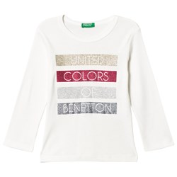 United Colors of Benetton T-shirt med Glitter Tryck Vit