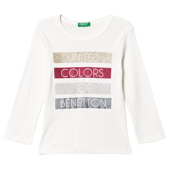 United Colors of Benetton White Tee With Glitter Print White