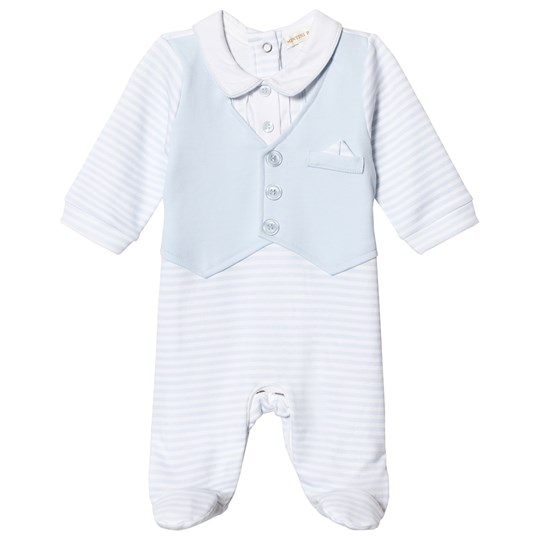 Mintini Baby Blue and White Footed Baby Body Blue/White