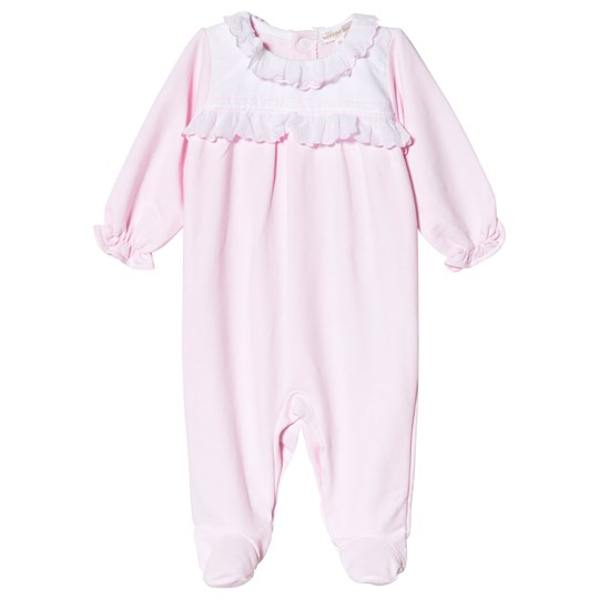 Mintini Baby Pink Ruffle Footed Baby Body Pink/White