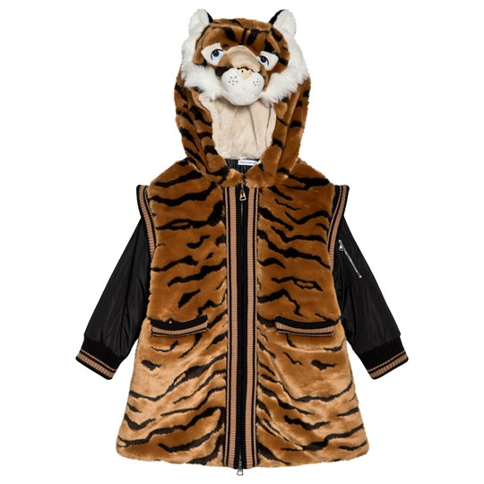 Dolce & Gabbana Tiger Faux Fur Hooded Coat S8350