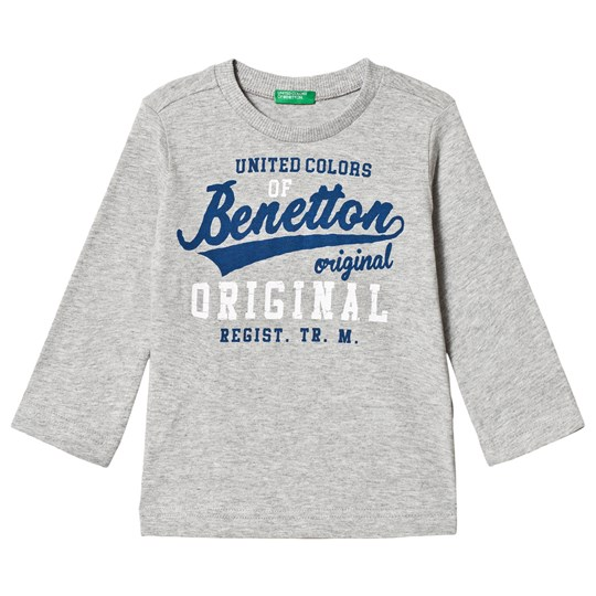 United Colors of Benetton T-shirt med Märkeslogga Grå Grey