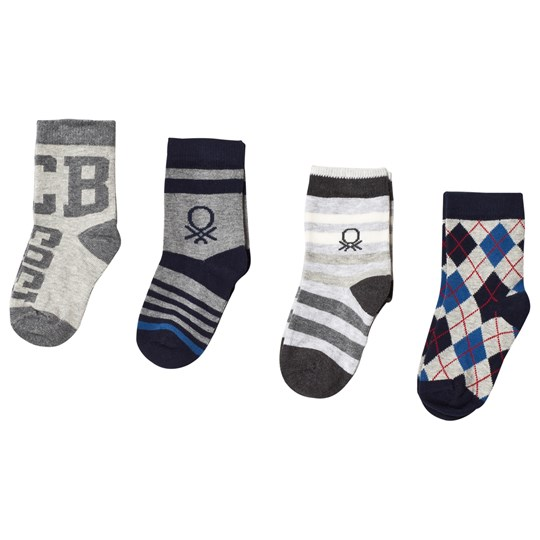 United Colors of Benetton 4-Pack Grey Multi Knitted Socks GREY MULTI