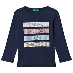 United Colors of Benetton Navy Tee With Glitter Print