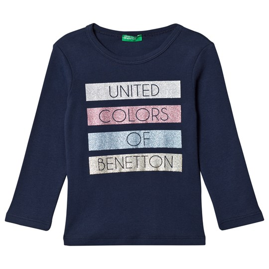 United Colors of Benetton T-shirt med Glitter Tryck Marinblå Navy