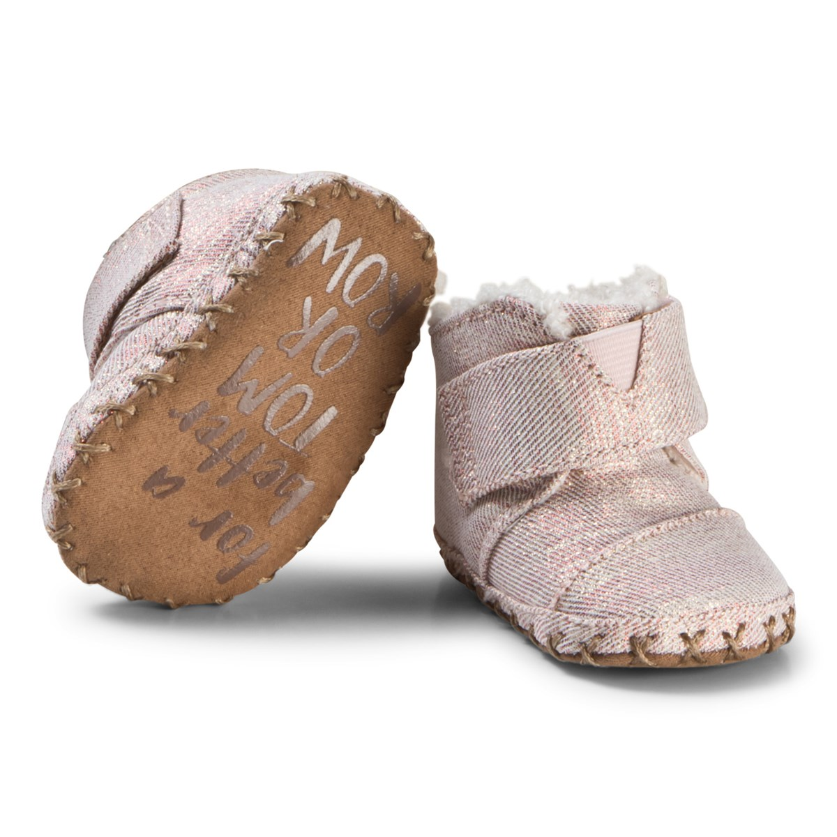 d18872d2bf2 Toms - Rose Gold Twill Glimmer Tiny TOMS Cuna Crib Shoes - Babyshop.com