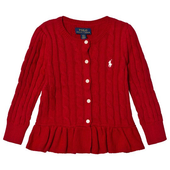 Ralph Lauren Red Cable Knit Peplum Cardigan 006