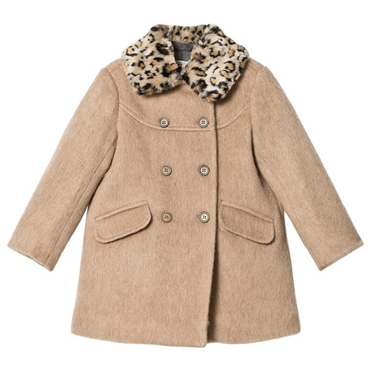 Bonpoint Beige Wool Coat with Faux Leopard Collar 065