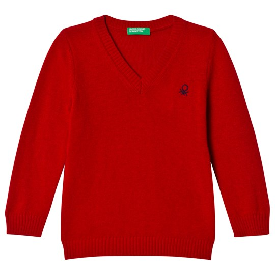 United Colors of Benetton Red V-Neck Sweater Red
