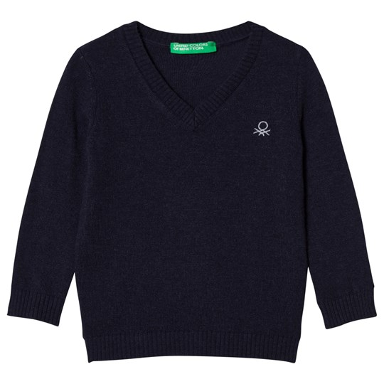 United Colors of Benetton Navy V-Neck Sweater Laivastonsininen