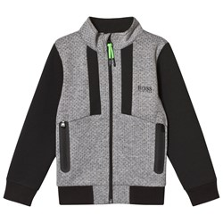 BOSS Grey and Black Perforated Detail Track Jacket