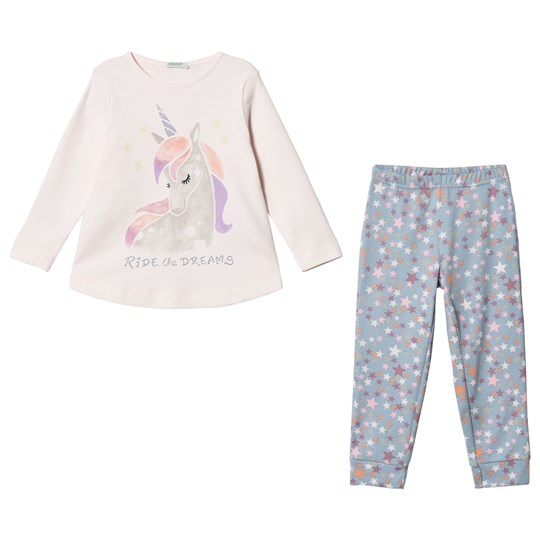 United Colors of Benetton Pink and Grey Glitter Unicorn Pajamas PINK&GREY