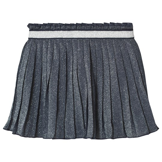 United Colors of Benetton Blue Pleated Lurex Skirt Marinblå