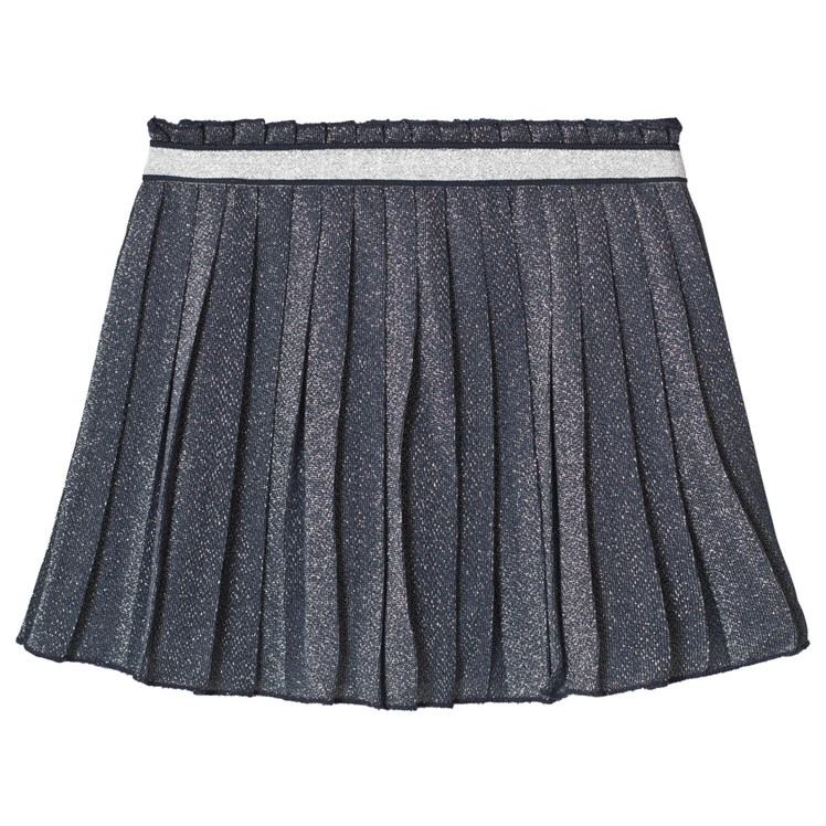 Plaid Pile Benetton.United Colors Of Benetton Blue Pleated Lurex Skirt