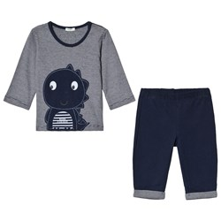 United Colors of Benetton Navy Tee and Pants Dinosaur Set