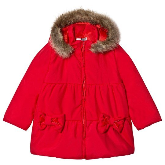 Dr Kid Red Faux Fur Hooded Puffer Coat 160