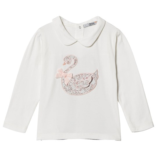 Dr Kid White Embroidered Swan Top 020