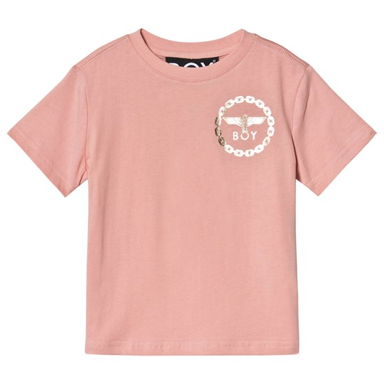 Boy London Pink and Gold Eagle Print Tee Pink/Gold