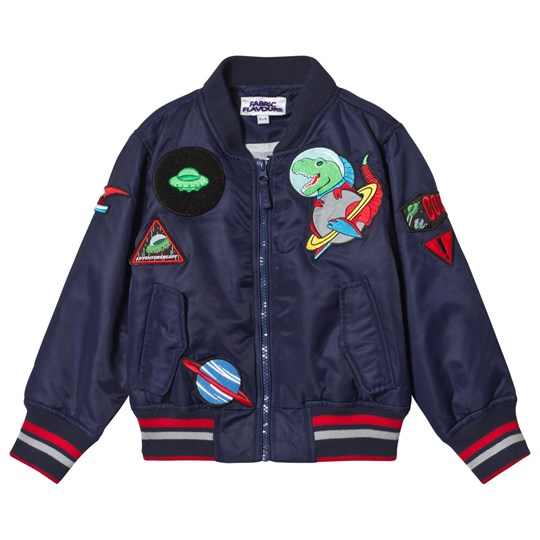 Fabric Flavours Navy Out Of This World Bomber Jacket Marinblå