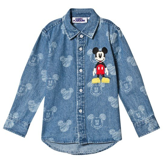 Fabric Flavours Blue Mickey Mouse Denim Shirt Blue